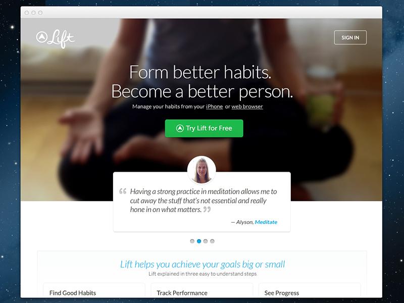 Lift Website Design startup landing website freshthrills