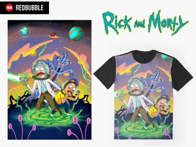 Rick and Morty, run away from chasing monsters
