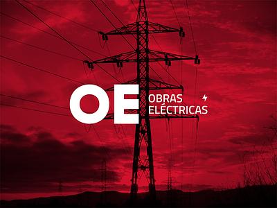 Obras Eléctricas SRL company electric grmn oe logotype logo identity stationery brand