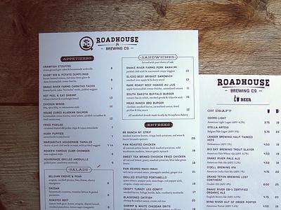 Roadhouse Brewing Co Menu menu design typography design brewery restaurant icons haymaker homestead deming beer jackson hole olaus linn