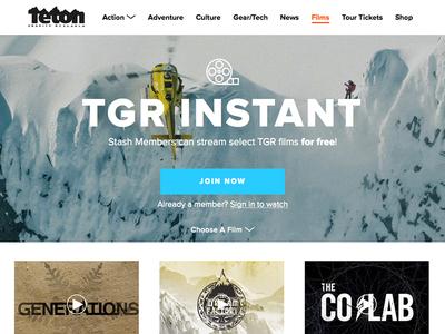 TGR Instant Platform snowboarding skiing action sports proxima nova typography web design teton gravity research tgr ux ui