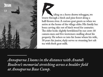Jackson Hole Snowboarder Magazine Design Elements jackson hole snowboarder snowboarding snowboard mountains wyoming magazine editorial publication dropcap drop-cap typography