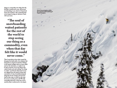 JHSM Issue Thirteen Sample Page typography drop-cap dropcap publication editorial magazine wyoming mountains snowboard snowboarding snowboarder jackson hole