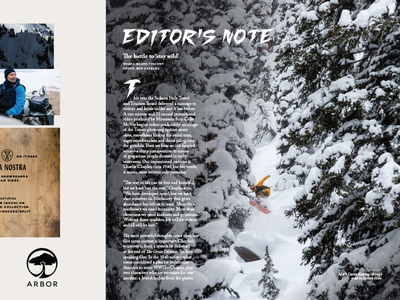 JHSM Issue Thirteen Sample Page No. 2 jackson hole snowboarder snowboarding snowboard mountains wyoming magazine editorial publication dropcap drop-cap typography