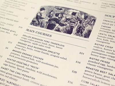Rendezvous Bistro Menu First Draft restaurant menu vintage typography aharmon olaus linn tmbr quicksand jackson hole rendezvous bistro print design century schoolbook