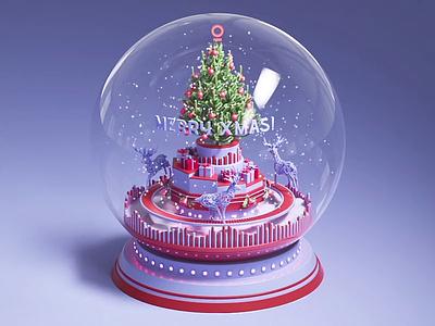 Christmas Snow Globe cgi xmas digital gifts cinema 4d 3d art 3d greeting snow deer snowball illustation christmas