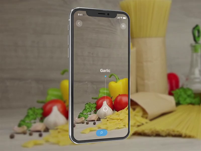 Recipes Searching AR App augmented reality virtual tracking motion augmented ui app animation detection cook ingredients recipe food ar