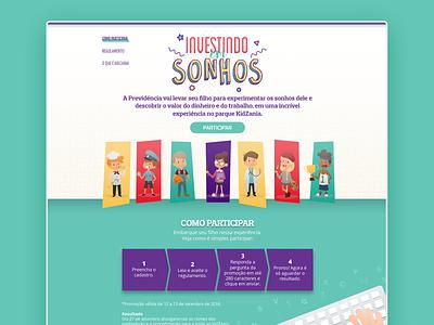 Landing Investindo Em Sonhos ui finance brazil children promo landing