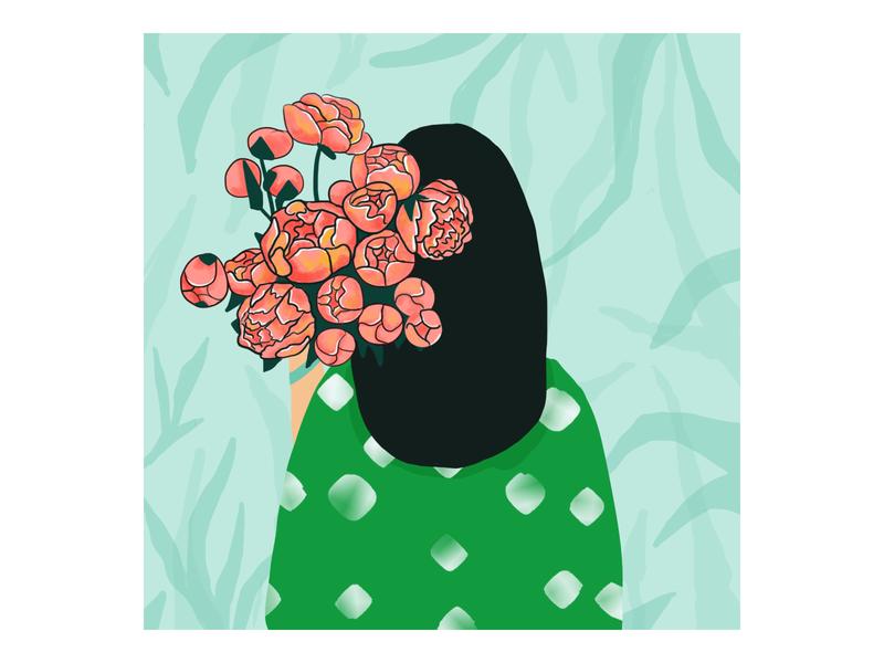 Peonies summer artwork artist art digitalart drawing illustration flower