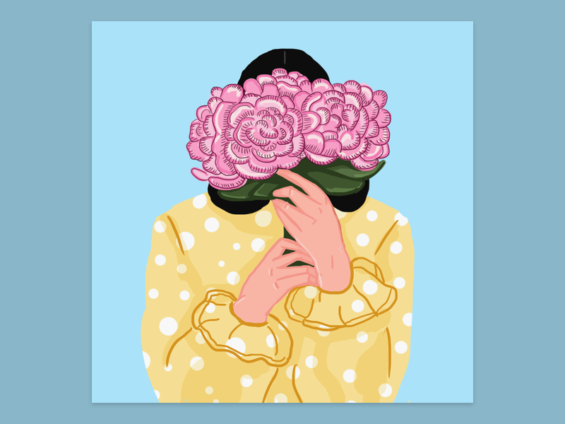 Peonies artwork summer digitalart artist woman drawing illustraion flower