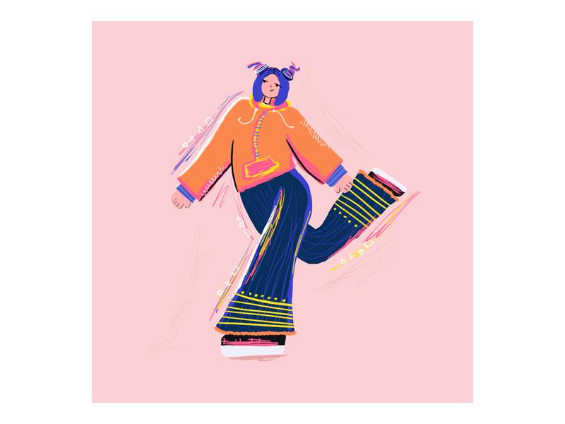Girl  Clementine walking illustration art girl walking artwork artist digitalart woman drawing