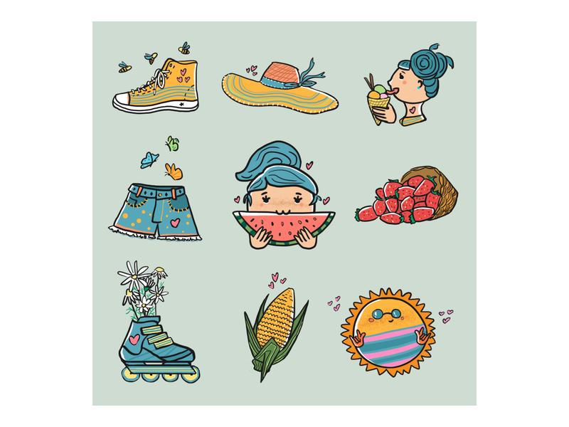 Summer doodle digital illustration artwork artist digitalart drawing color art doodle summer