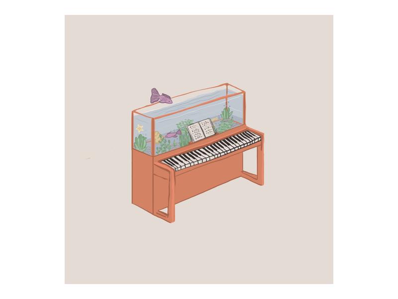 Piano idea color illustration artwork drawing digitalart artist fish aquarium piano
