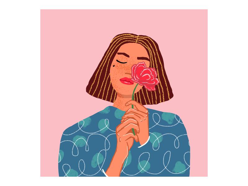 Portrait color art drawing summer illustration flower woman portrait artist digitalart portrait woman