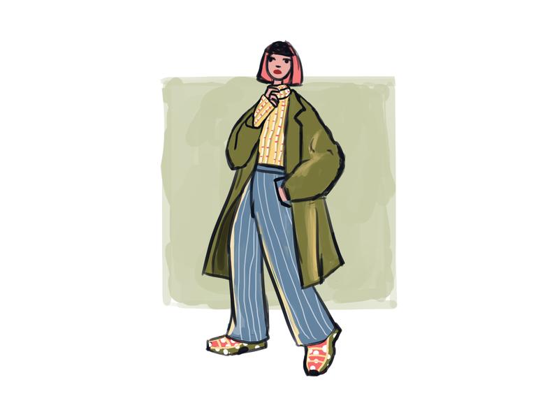 Woman in coat color digital art artist doodle digitalart illustration woman artwork autumn coat drawing