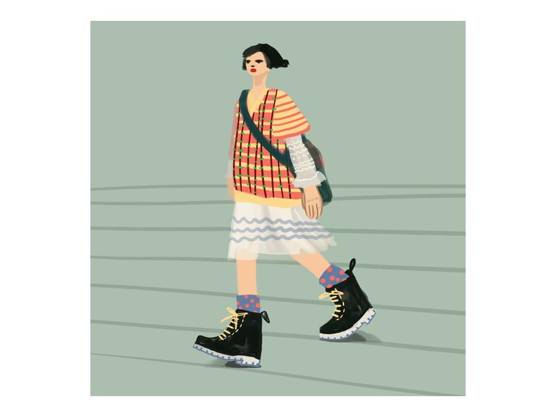 Woman walking digital doodle artwork digitalart autumn color art illustration artist woman walking woman drawing