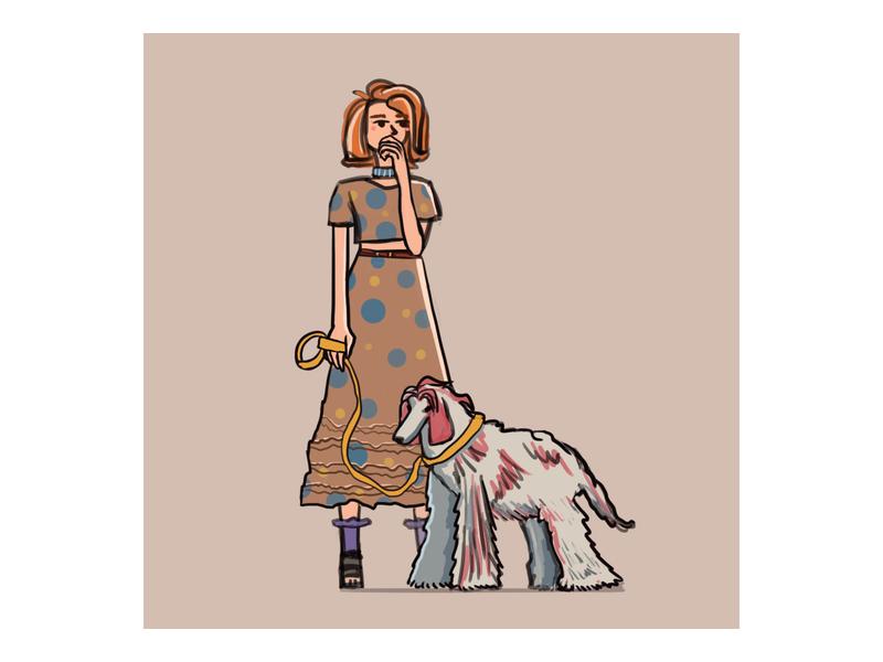 Woman with dog animal autumn doodle art color illustration artwork digitalart artist dog woman