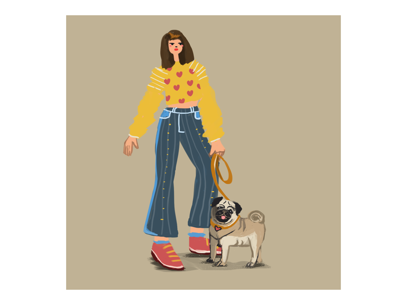 Woman with dog 3 artwork autumn doodle artist drawing digitalart color illustration pug dog woman woman with dog