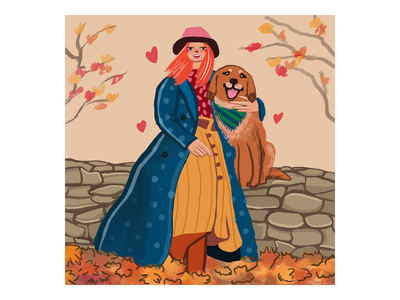 Woman with dog doodle art illustration artist drawing digitalart artwork color autumn dog woman woman with dog