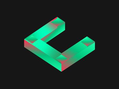 Crypto Company Logo isometric design 3d isometry geometric gradient color gradient logotype cryptocurrency blockchain crypto type design type art logodesign logo adobe illustrator