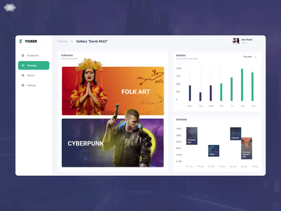 Dashboard concept for an art gallery graphic illustration typography artists motion planning gallery dashboard game animation