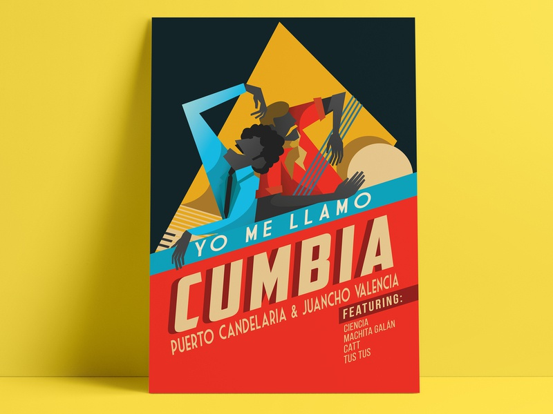 Poster Yo Me Llamo Cumbia vector design cumbia music packaging illustration colombia