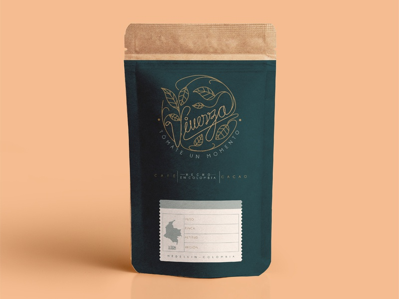 Vivenza Café vector branding and identity cafe branding coffee bag coffee colombia
