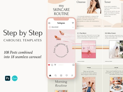 Step by Step - Carousel Templates social network social media pack interview education website educational education tips female tutorial canva design canva branding moodboard instagram portfolio gallery post carousel ig stories instagram stories instagram template ig template
