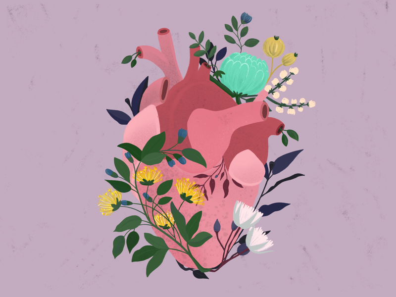 Heart leaves graphic design graphic vector love flowers heart spring procreate illustration