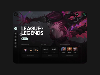 Game Launcher launcher games esports league of legends app animation interaction design exploration concept invision studio ui