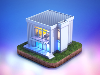 First shot web icon rendering architecture house grass color debut first shot 3d building miniature render