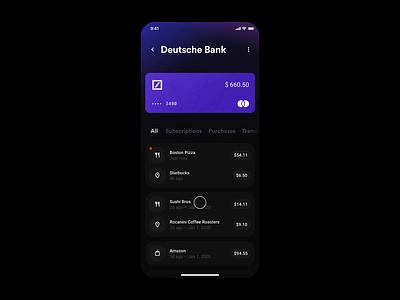 Wallet App – Transaction history app design wallet banking finance app interaction design interaction animation studio invision studio invision exploration concept ux ui