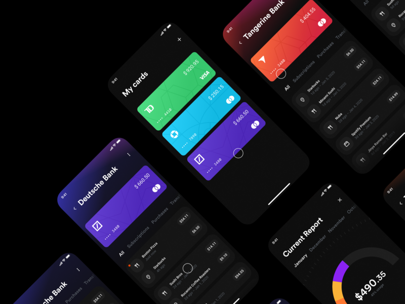 Wallet App – Screens banking app banking concept invision studio invision wallet app mobile user interface exploration finance wallet app design ui