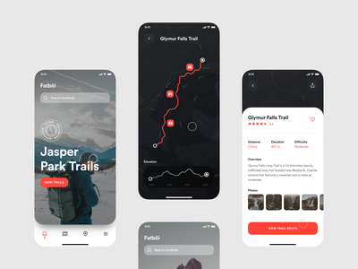 Fatböi Trailbook product design mobile design mobile ui mobile adventure hiking trails trail invision exploration concept app invision studio design ui