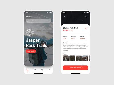 Fatböi Trailbook Animation mobile mobile ui minimal motion graphics trails trail product design app design animation interaction design invision exploration concept app invision studio design ui