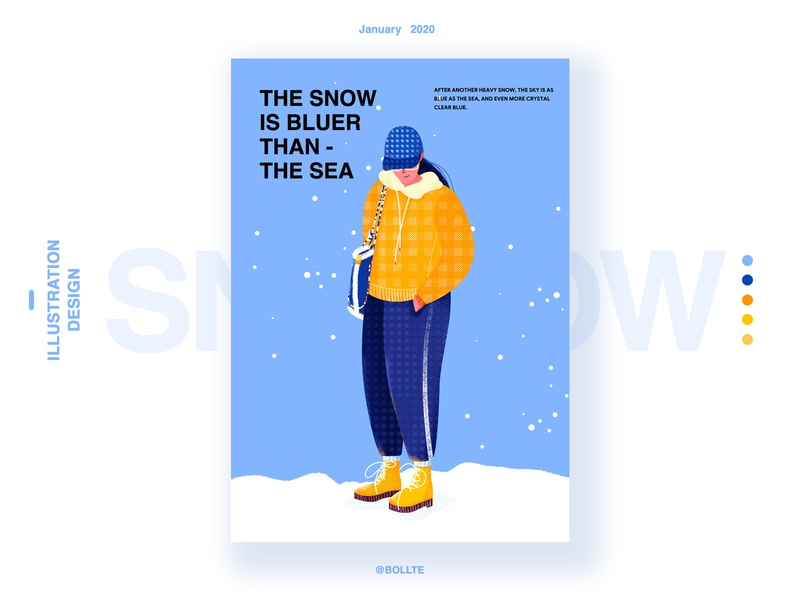 The snow is bluer than the sea snow girl design illustration