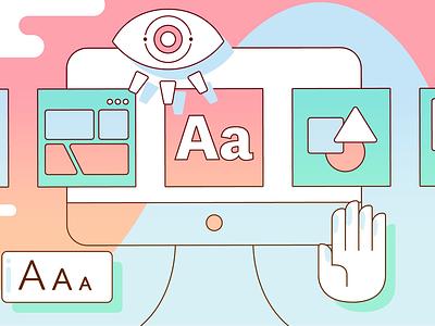 """""""Optimizing Accessibility"""" Blog Illustration design system a11y accessibility illustration"""
