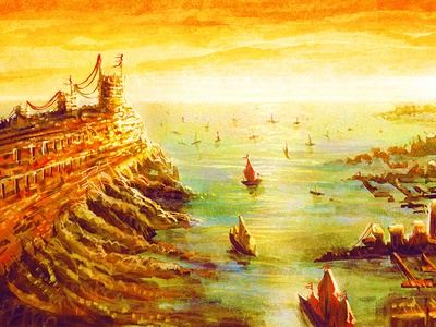 Medieval Port City Digital Painting port city fantasy digital painting photoshop
