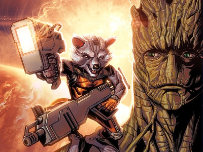 Rocket Raccoon and Groot groot manga studio comic book art marvel comics rocket raccoon photoshop illustration
