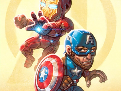 Captain America & Iron Man Chibi Art chibi iron man illustration photoshop captain america marvel comics comic book art manga studio