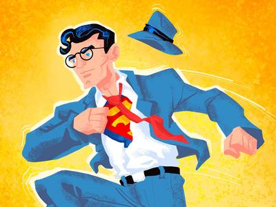 This looks like a job for Superman! superman clark kent illustration