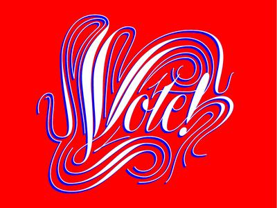 Vote! lettering tom carnase spencerian vote