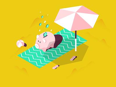 Make money pig beach sun color pantone vector andrea vaduva meedori summer illustration
