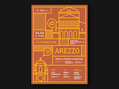 Arezzo in tour poster design illustrator illustration poster graphic vaduva andrea meedori arezzo