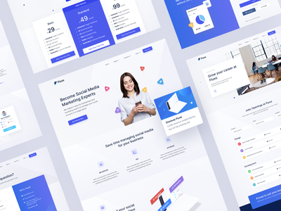 Fluxo - Social Media Marketing Website Template card design mega menu gradient web ux ui landing page agency website job listing sign up pricing page html marketing social media bootstrap template
