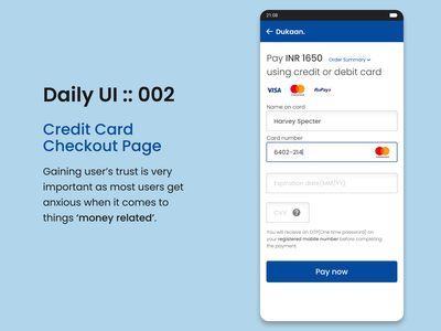 DailyUI::002 Checkout page daily ui dailyui uxdesigns uxdesign ux  ui usability payment method paypal payments payment ux ui design android app