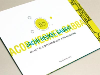 Gabbay Award Invitation award print invitation offset pantones science typography brandeis organic