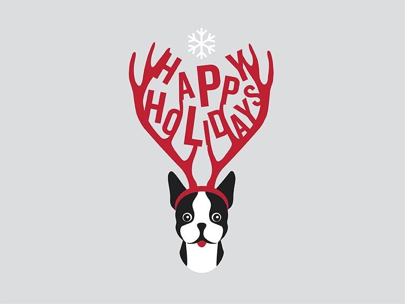 Happy Holidays snowflake illustration holiday festive dog cute christmas boston terrier antlers