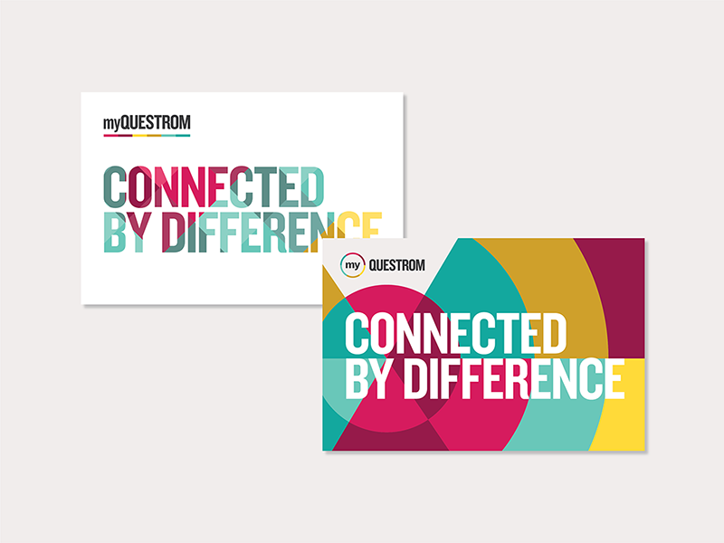 myQuestrom Visual Identity postcards identity rainbow colors difference connected inclusion diversity