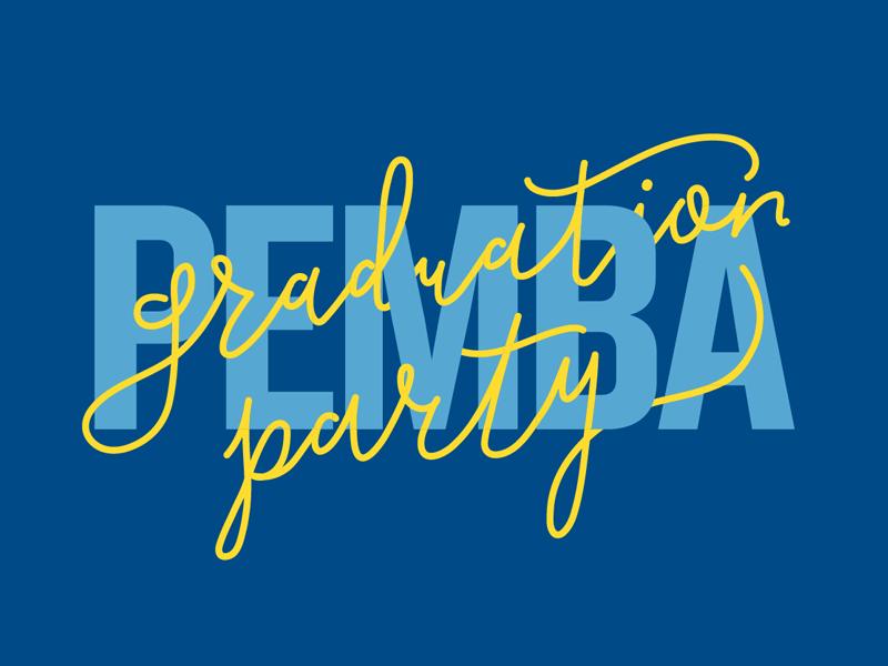 Graduation Party knockout stroke lettering weave typography type script